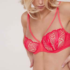 Full cup plunge bra - Good mood Pink