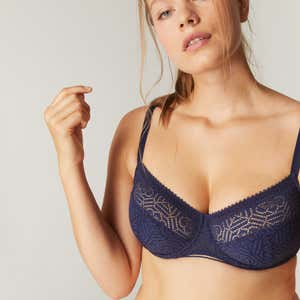 Full cup support bra - Navy