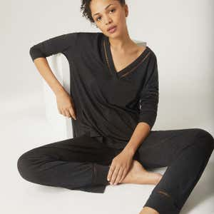 Langärmeliges Top - Anthracite chiné
