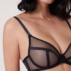 Deep plunge triangle full cup bra - Black