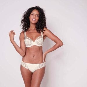Full cup plunge bra - Natural
