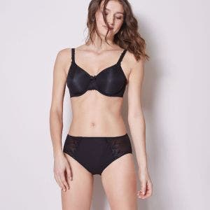 High-waist cotton brief - Black