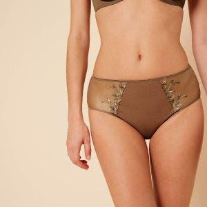 High-waist cotton brief - Amaretto