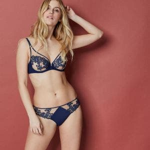 Full cup plunge bra - Navy