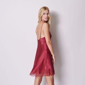 Silk nightdress - Burgundy