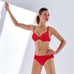 Haut de maillot de bain avec armatures - Rouge tresse