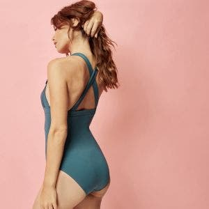 Wireless one-piece swimsuit - Bleu paon