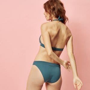 Haut de maillot de bain triangle sans armature - Bleu paon