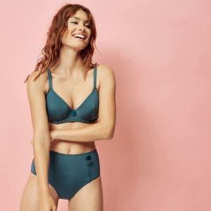 Bikini-Slip mit hohem Bund - Bleu paon