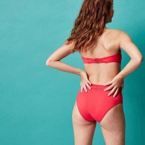 Bikini-Slip mit hohem Bund - rot