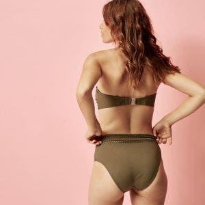 Bikini-Slip mit hohem Bund - Olive