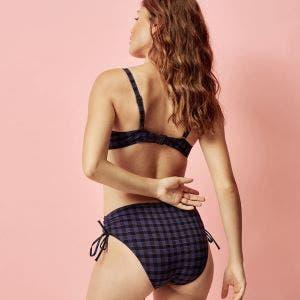 Bikini-Slip mit hohem Bund - Vichy