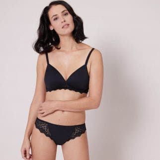 3D soft cup triangle bra - Black