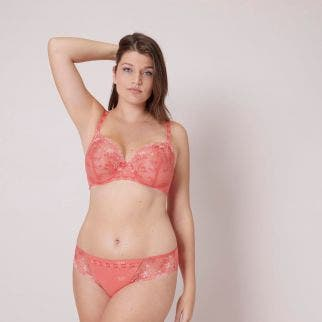 Half cup support bra - Coral