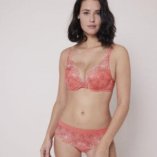 Triangle push-up bra - Coral