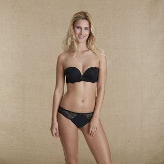 Smooth strapless plunge bra - Black
