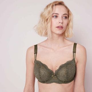 Full bust half cup bra - Safari
