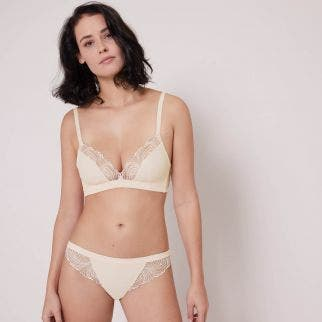 Soft cup triangle bra - Pearl