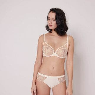 Full cup plunge bra - Pearl