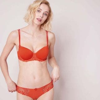 Padded half cup bra - Blood orange