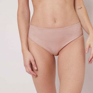 High waist cotton slip - Antique rose