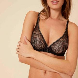 Full cup plunge bra - Black