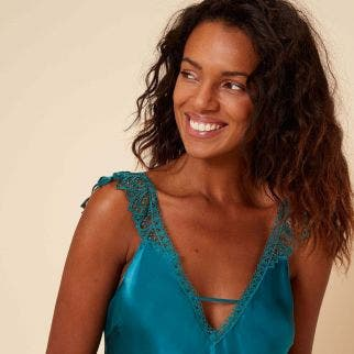 Silk nightdress - Emerald green
