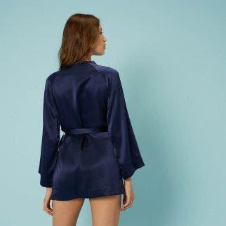 Kimono en soie - Bleu Nuit