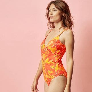 Non-wired, padded one-piece swimsuit - Clémentine/Soleil