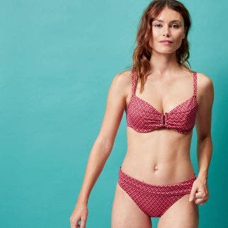 High-waist bikini brief - Terracotta