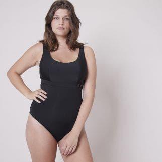 Maillot de bain 1 pièce de bain nageur avec armatures - Noir