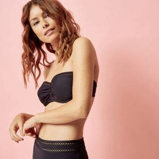 Underwired bandeau bikini top - Black