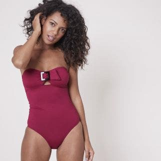 Strapless one-piece swimsuit - Cranberry