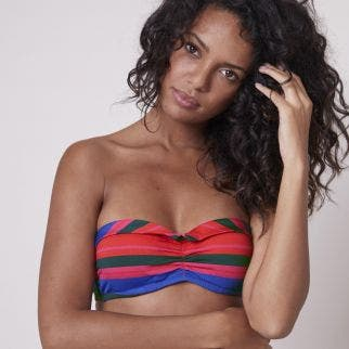 Underwired bandeau bikini top - Bayadère Strips