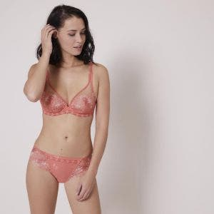 Full cup plunge bra - Coral