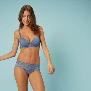 3D plunge bra - Platinum blue
