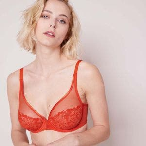 Full cup plunge bra - Blood orange
