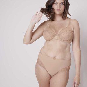 Full cup plunge bra - Nude