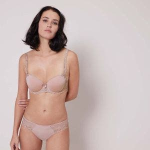 Padded half cup bra - Antique rose