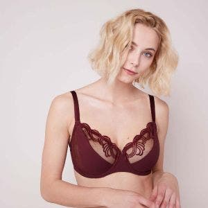 Full cup support bra - Berry