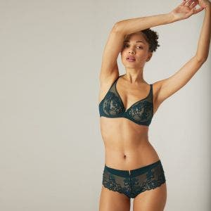 Full cup plunge bra - Peacock