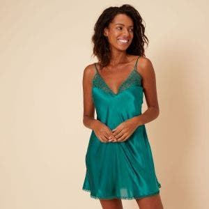 Silk nightdress with plunging back - Emerald green