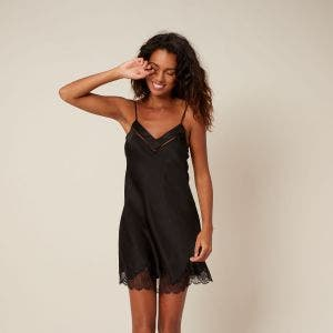 Silk nightdress - Black