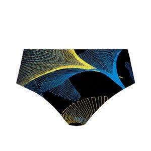 Culotte de bain taille haute - Imprimé Noir Jaune Bleu