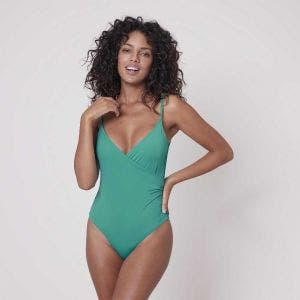Non-wired, padded one-piece swimsuit - Sea Green