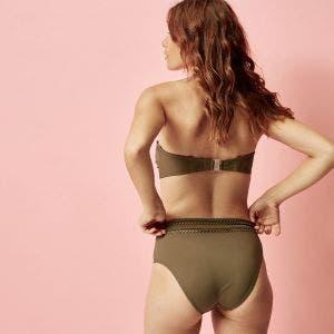 Haut de maillot de bain bandeau souple avec armatures - Olive