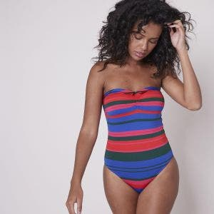 Strapless one-piece swimsuit - Bayadère Strips