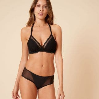 Soft cup triangle bra - Black