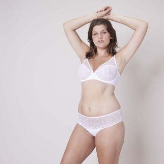 Full cup plunge bra - White