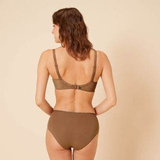 High-waist cotton brief - Amaretto